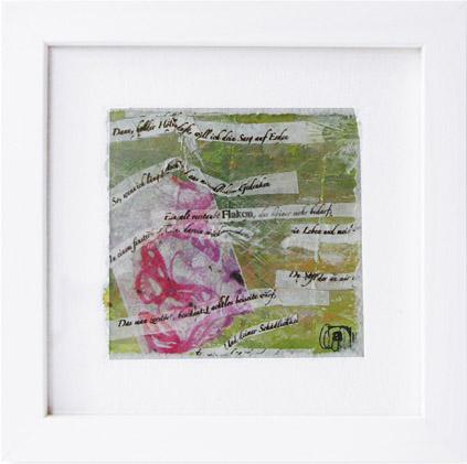 Collage auf Papier in Glasrahmung, Gemälde 175 x 175 mm