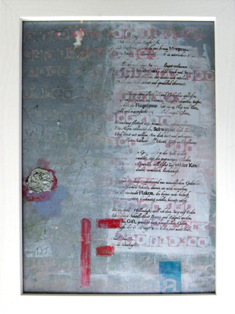 Collage auf Papier in Glasrahmung, Gemälde 265 x 195 mm